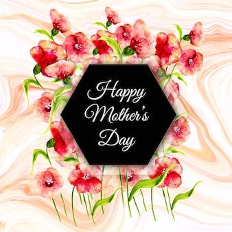Feliz dia das mães fundo com textura floral e mármore