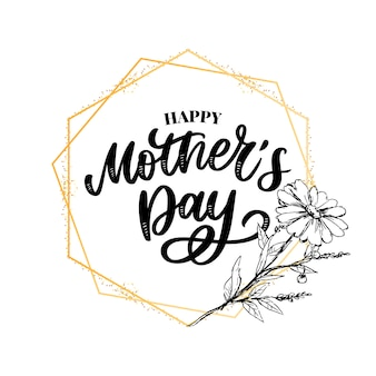 Feliz dia das mães ilustração. caligrafia de letras de mão