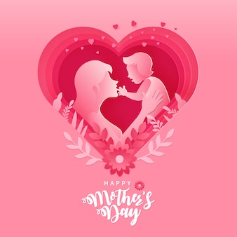 Feliz dia das mães. ilustração de cartão de mãe e bebê dentro de papel cortado em forma de coração rosa Vetor Premium