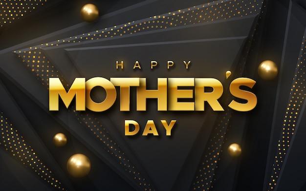Feliz dia das mães. ilustração de férias de etiqueta prata sobre fundo preto abstrato formas com brilhos e esferas. banner 3d realista.