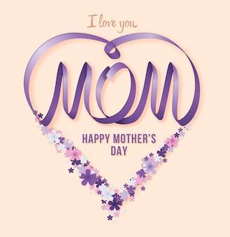 Feliz dia das mães. ilustração em vetor feriado festivo com flores e coração de fita lilás
