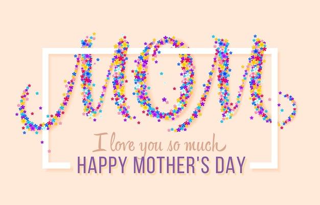 Feliz dia das mães. ilustração em vetor feriado festivo com flores