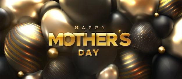 Feliz dia das mães. ilustração em vetor férias do rótulo dourado sobre fundo 3d abstrato com esferas pretas e douradas