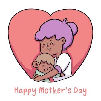 Feliz dia das mães ilustração mãe abraça criança