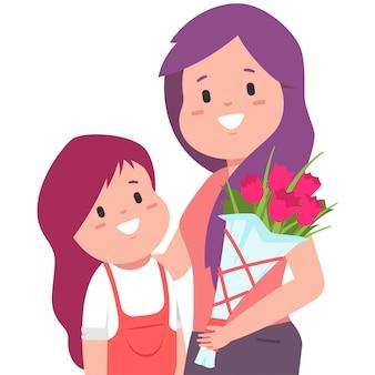 Feliz dia das mães imagem com mãe, filha e buquê de flores.
