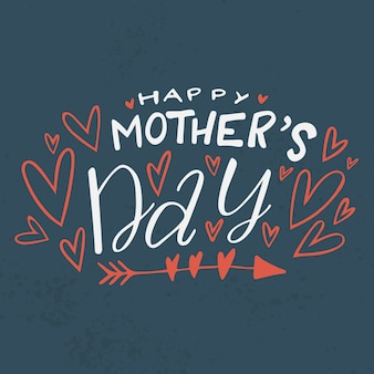 Feliz dia das mães letras e corações
