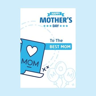 Feliz dia das mães letras fundo azul