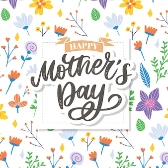 Feliz dia das mães letras. ilustração de caligrafia artesanal. cartão de dia das mães com flores