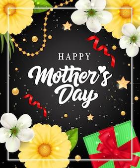 Feliz dia das mães letras no quadro com o presente e flores. cartão de dia das mães.