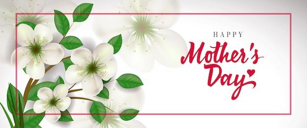 Feliz dia das mães letras no quadro vermelho com flores. cartão de dia das mães.