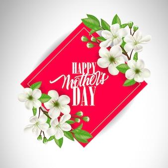 Feliz dia das mães lettering na moldura quadrada vermelha com flores. Cartão de dia das mães