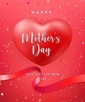 Feliz dia das mães lindo coração vermelho coração forma balão e fita com fundo de decoração de pontos