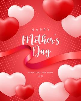 Feliz dia das mães lindo rosa vermelho amor coração forma balão e fita com fundo de decoração de pontos