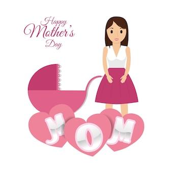 Feliz dia das mães mãe com carruagem de bebê corações decorativo