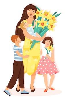 Feliz dia das mães. mãe com filhas