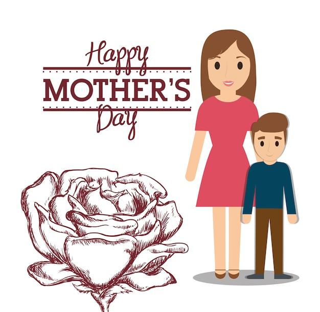 Feliz dia das mães mãe com filho e flor