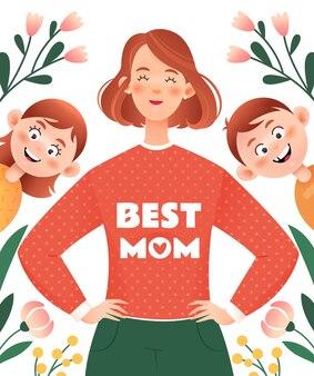 Feliz dia das mães. mãe feliz com filhos.