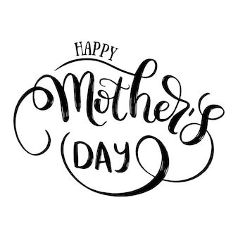Feliz dia das mães mão desenhada letras. cartão postal de férias. ilustração de caligrafia em branco.