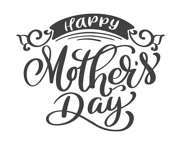 Feliz dia das mães mão desenhada letras citações