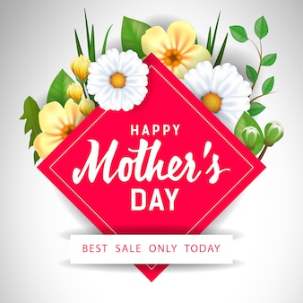 Feliz dia das mães melhor venda apenas hoje lettering com flores.