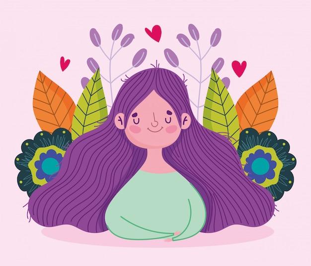 Feliz dia das mães, mulher dos desenhos animados flores folhas cartão