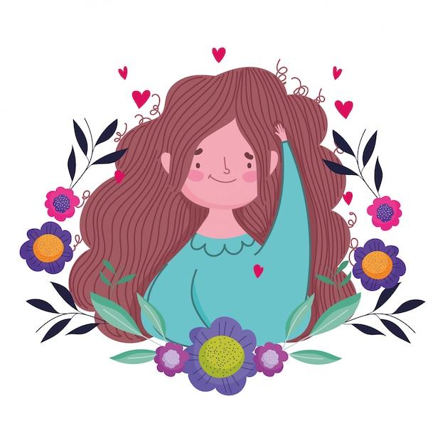 Feliz dia das mães, mulher flores deixa distintivo de decoração