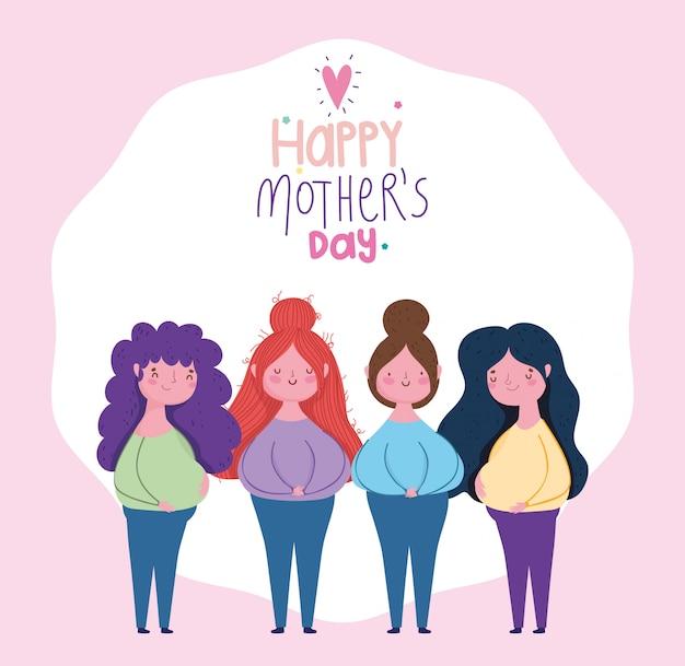 Feliz dia das mães, mulheres de personagens de desenhos animados em pé, letras