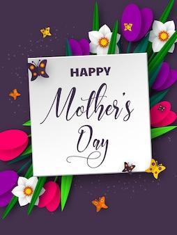 Feliz dia das mães. papel 3d cortado buquê de flores da primavera, tulipa e narciso com borboleta