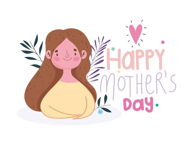 Feliz dia das mães, personagem mãe decoração floral cartão festivo