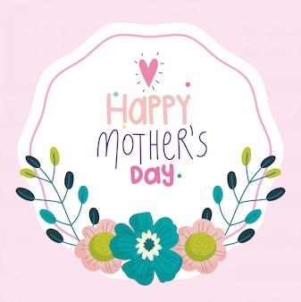 Feliz dia das mães, ramo de flores deixa o rótulo de decoração