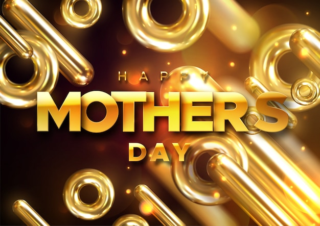 Feliz dia das mães rótulo retrô com raios de luz. composição de letras. design da capa na moda moderna. ilustração 3d de cápsulas de ouro realistas