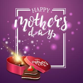 Feliz dia das mães saudação cartão roxo
