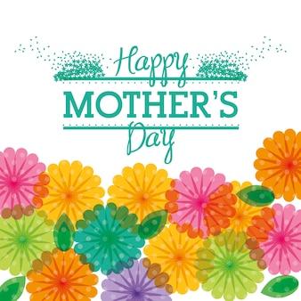 Feliz dia das mães saudação flor transparente colorido