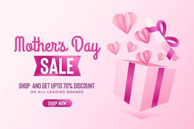 Feliz dia das mães saudando banner de venda com caixa de presente rosa e fitas