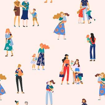 Feliz dia das mães, sem costura padrão com mulheres e crianças