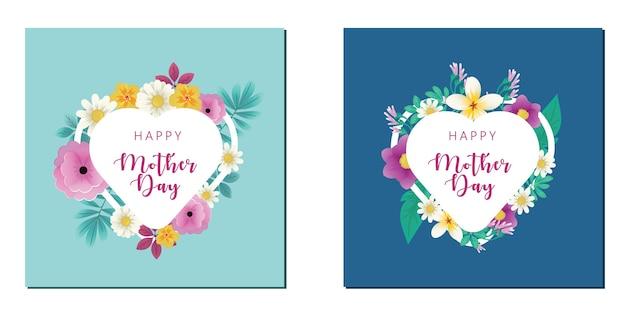 Feliz dia das mães símbolos do amor em forma de coração cartão