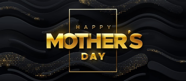 Feliz dia das mães sinal dourado em fundo preto abstrato de formas onduladas com brilhos