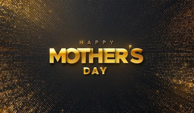Feliz dia das mães sinal dourado em fundo preto com brilhos cintilantes.