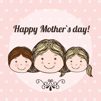Feliz dia das mães sobre fundo pontilhado