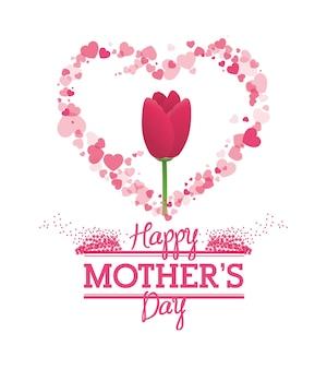 Feliz dia das mães tulipa flor forma coração