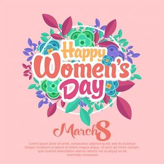 Feliz dia das mulheres arredondado flores