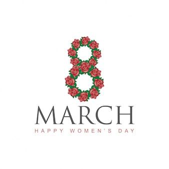 Feliz dia das mulheres com rosa florida