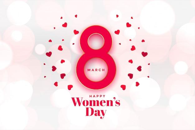 Feliz dia das mulheres corações fundo bonito