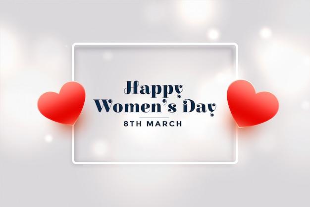 Feliz dia das mulheres corações vermelhos cartão
