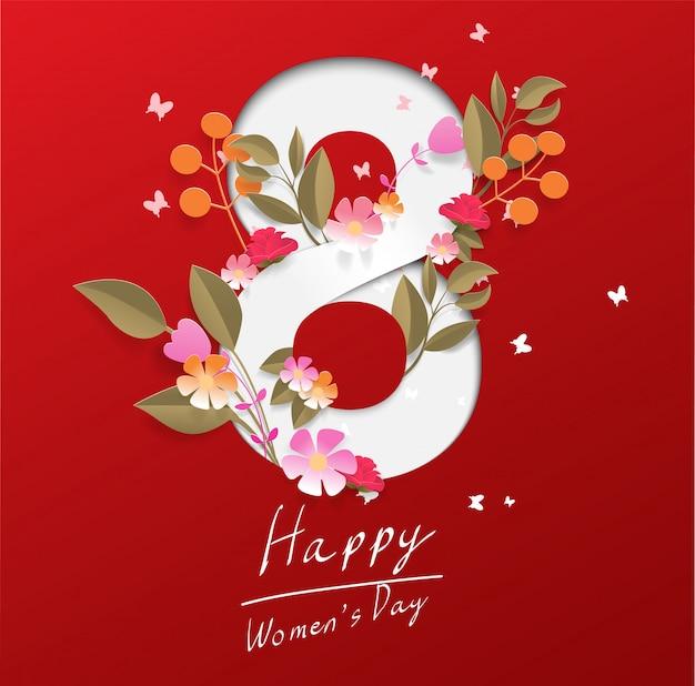Feliz dia das mulheres em fundo vermelho