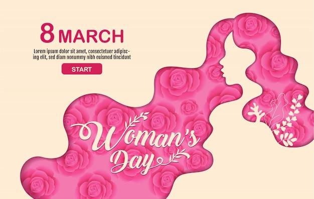 Feliz dia das mulheres feriado, 8 de março, fundo da flor.