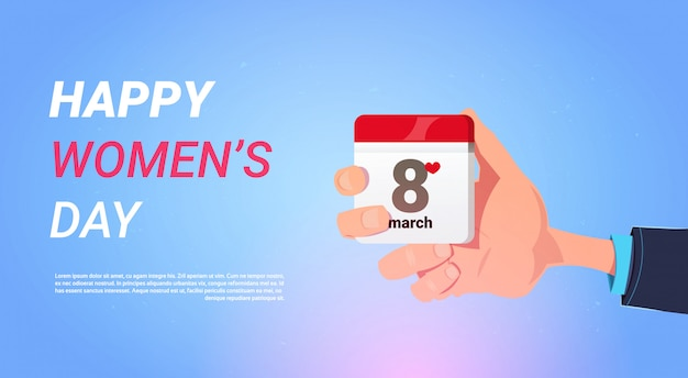 Feliz dia das mulheres feriado banner homem mão segure calendário com 8 de março conceito