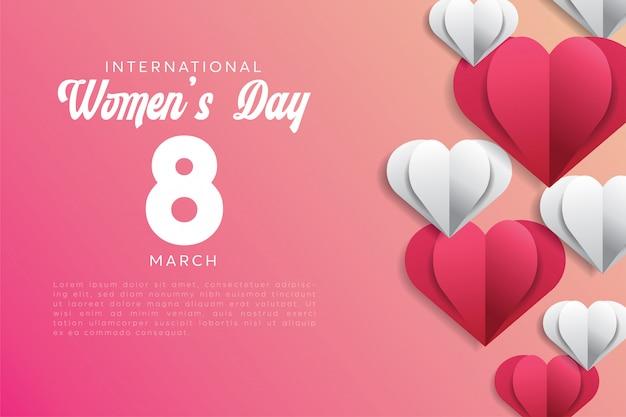 Feliz dia das mulheres férias com papel cortado amor formas estilo