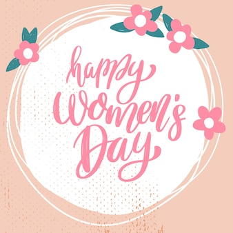 Feliz dia das mulheres. frase de letras em fundo com decoração de flores. elemento para cartaz, banner, cartão. ilustração