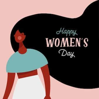 Feliz dia das mulheres letras no cabelo de uma garota afro.